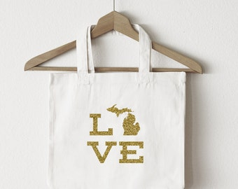 Love Michigan tote bag/custom tote/market bag/canvas shopping bag/state tote/market tote/ reuseable bag/ Michigan state bag/ gold