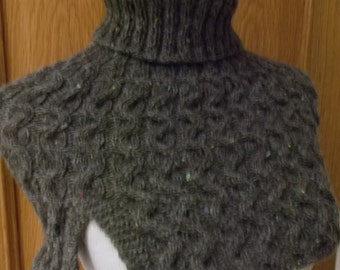 Wavy Cable cowl/shoulder cape in a tweedy grey wool