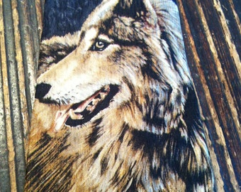 Vintage Necktie Wolf Endangered Species *SHOULD OTHERS FOLLOW*  By Bonnie Marris