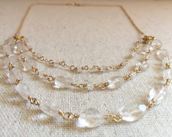 Quartz crystal and moonstone gemstone gold multi layered statement necklace