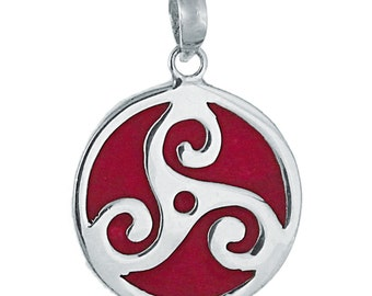 Coral pendant, round with red coral and tribal, 925 sterling silver 22 mm Ø (No. AK-132)
