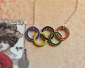 "RARE 1936 Olympic Pin Necklace- 18""Sterling Silver chain"