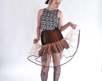 1980S AVANT GARDE Skirt burlesque full midi sheer lolita cosplay prom 90s skirt S