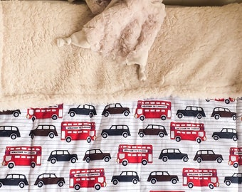 London Baby Blanket, London Theme Bedding, London Baby Blanket, London Decor, London Nursery Theme, London Buses, London cabs