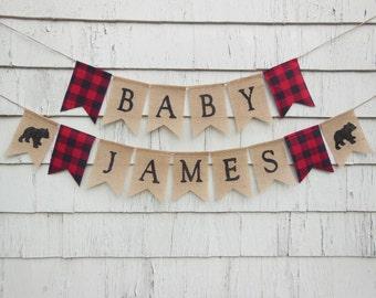 Lumberjack Baby Shower, Lumberjack Shower Decor, Custom Name Banner, Baby Name Banner, Burlap Banner, Lumberjack Nursery, Baby Boy Shower