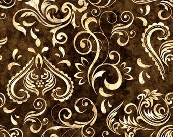 Inlay Scroll: Charcoal Fabric Fat Quarter, Third Yard, Half Yard, or By-The-Yard; 24695J; Quilting Treasures; Unbridled