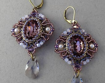 Delicate Earrings//Amethyst//Pewter//Lilac//Purple//Free Shipping
