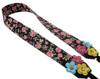 DSLR Camera Strap. Floral Camera Strap. Cute Camera Strap - Vintage Rose Fabric With Leather Flowers