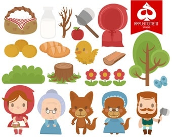 Red Riding Hood Digital Clipart for Personal and Commercial Use