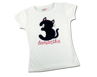 Girl's Kitty Cat Birthday Shirt with Kitten Number and Name