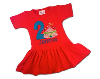 Girl's Red and Teal Circus Birthday Dress with Circus Tent and Embroidered Name