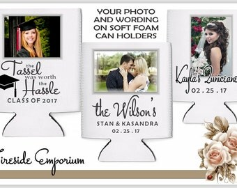 PHOTO Can Cooler, Photo Drink Holder, Photo Can Holder, Graduation, Sweet 16 Quincenara Party, Birthday Can Cooler