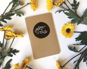 you + me - hand lettered + illustrated kraft cahier moleskine journal - 3 page styles