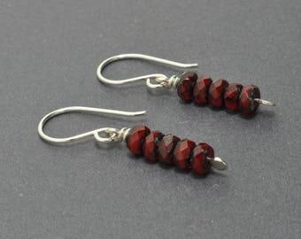 Garnet Earrings, Czech glass earrings, Dangle Earrings, Red earrings, Sterling Silver Earrings