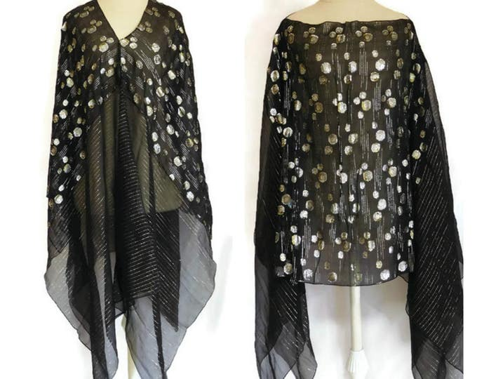 Featured listing image: Black, Silver, Gold, Formal Shawl Top - Silk