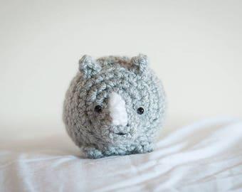 Cute Mystery Rhinoceros Amigurumi Kawaii Rhino - Amigurumi Rhinoceros Crochet  OOAK