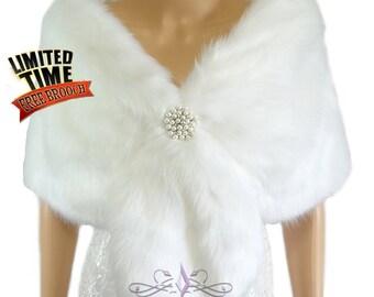 Faux Fur Wrap, White Faux Fur Stole, Bridal Wrap, Faux Fur Shrug, Wedding Fox Stole, Faux Fur Shrug, MRBCreation, Bridal Fur Stole FS108-WHI