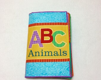 ABC Animals soft fabric book, soft book, baby book, cloth book, colorful book for baby, baby ABC book, animal book, fabric book for baby