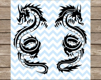 Chinese Dragon Dragon SVG Dragon Chinese New Year Tattoo SVG Cut File Silhouette cameo Cricut Cutting File DXF svg dragon clipart svg files