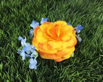 Orange Yellow and Blue Pinup Girl Flower Clip