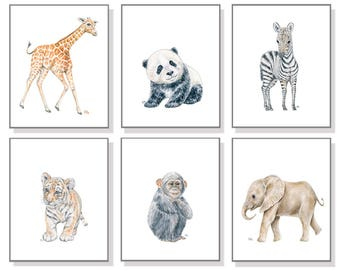 Zoo Animal Art Zoo Nursery Prints Whimsical Nursery Art Boy Room Painting Girl Room Decor Elephant Giraffe Zebra Tiger Monkey Panda Set of 6