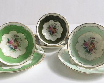3 Coalport China Tea Cups and Saucers Teacup Set