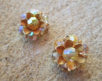 Vintage Clear AB Crystal Gold Flower Clip On Earrings