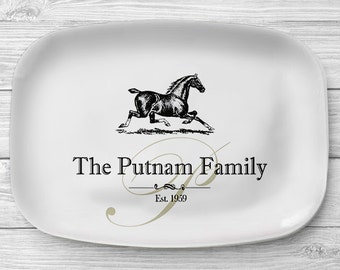 Personalized Horse Platter, Melamine Serving Platter, Melamine Platter, Personalized Serving Tray, Horse Ranch Decor