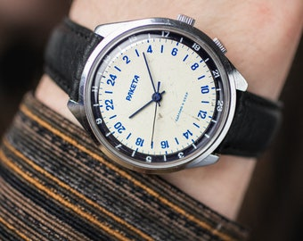 24-hour soviet watch Raketa (Rocket) – vintage watch men – mens mechanical watch – gift for him USSR 70s