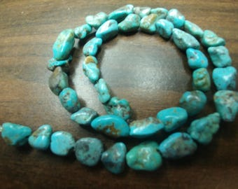 """Genuine Turquoise Nugget Beads - 16"""" Full Strand (2014060-16)"""