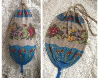 Beautiful antique victorian rare beaded purse/ reticule/ bag, gorgeous design of vibrant roses and primroses~ very collectible