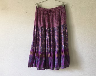 Vintage Skirt - Boho Skirt 70s Purple Floral Cotton Gauze Ethnic India 1970s Bohemian Hippie Festival Sheer Drawstring