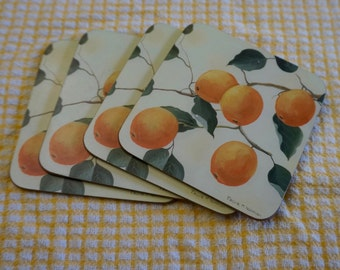 Oranges; Cork Backed Coasters; Set of Four; Approx. 3.75 x 3.75 in. Detail From an Original Painting !!!