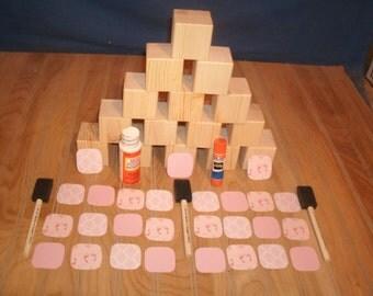"""pink DIY baby block kit, 2"""" DIY block kit, baby blocks, wood baby blocks, nursery room decor, #1"""