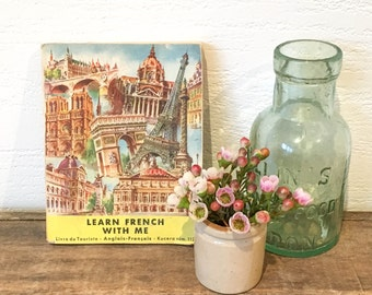 Vintage Learn With Me English to French Tourist Phrase Book - 1950's Vintage French Travel Book - Translation Book