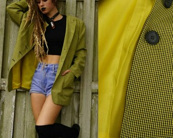 80s vintage designer Mondi yellow plaid blazer / oversized
