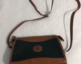Hunt Club Vintage sac à bandoulière en cuir marron et vert