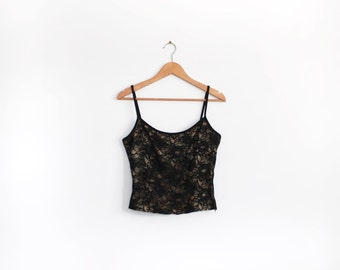 Black 90s lace cami with gold lining
