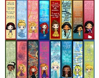 NEW! Moana! -- Disney Princess Bookmarks - Disney Princess Chibi Bookmarks - Anna, Ariel, Cinderella, Rapunzel, Belle, Aurora, Tiana & More