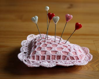 Heart Crochet Doily Pincushion