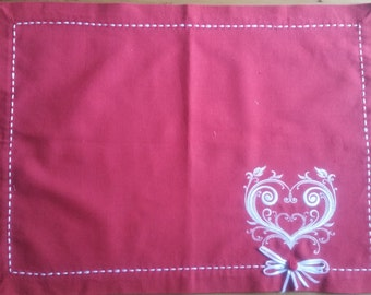 Fabric Doily - Christmas and/or Valentine Table Topper or Placemat - White Laced Heart - Embroidered Red and White Table Topper
