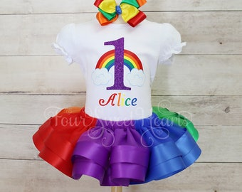 Rainbow Tutu, Girls Rainbow Dress, Rainbow Birthday, Rainbow Outfit, Over the Rainbow Outfit, Wizard of Oz Outfit, Rainbow Dress