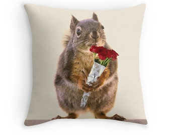 Squirrel Pillow, Gift for Wife, Funny Birthday, Squirrel Decor, Squirrel Cushion, Funny Pillow, Cute Pillow, Animal Cushion, Gift for Her