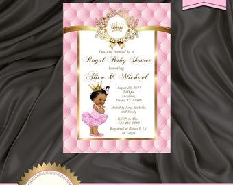 Princess Baby Shower Invitation, Little Princess Baby Shower Invite, Baby Girl, Royal Baby Shower, Pink, Gold - Printable, Digital file