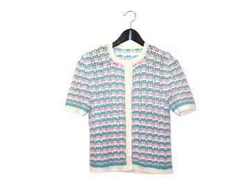 70s handmade crochet vintage women top - vintage clothing