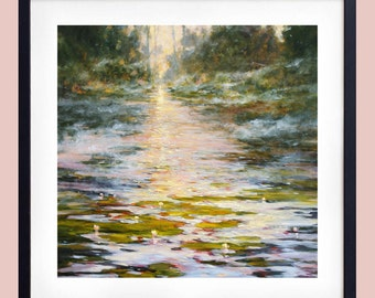 Impressionist oil painting of waterlilies at sunrise | Landscape painting | Landscape art print |  Giclee |  print | Impressionism