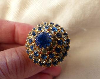 Stunning vintage blue clear rhinestone ring adjustable