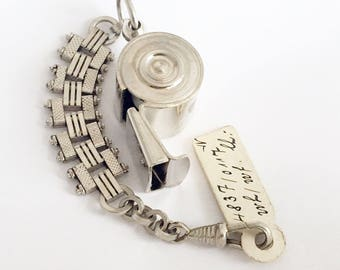 1960 German Whistle Keychain Art Deco Keyring Zipper Charm Handbag Charm Keychain Clip Purse Charm