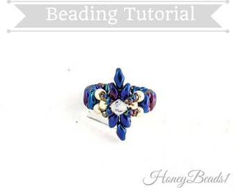 PDF-file Beading Pattern Dear Diamond Ring PDF-file Beading Tutorial by HoneyBeads1