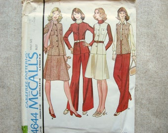 Misses Suit from McCalls 4644, Jacket and skirt or pants, 1970s sewing pattern, size 22 1/2 bust 43